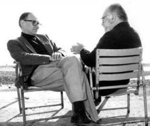 S. Leone ed E. Morricone in una foto del 1985